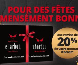 La carte-cadeau Charbon Steakhouse est de retour !